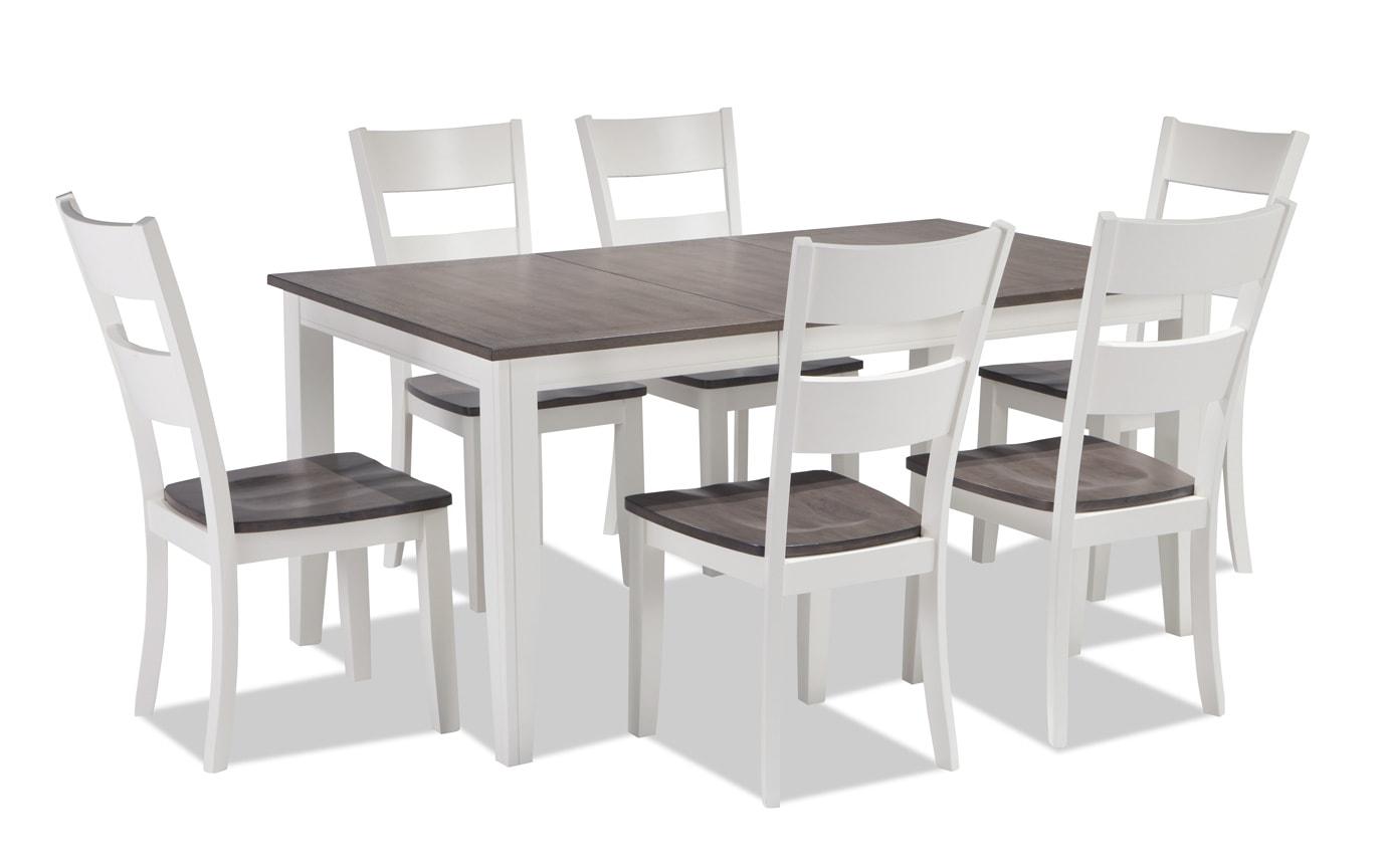 Blake Gray & White 7 Piece Dining Set | Bobs.com
