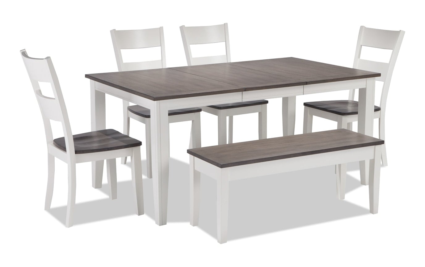 Blake Gray Chocolate 6 Piece Dining Set With Storage Bench