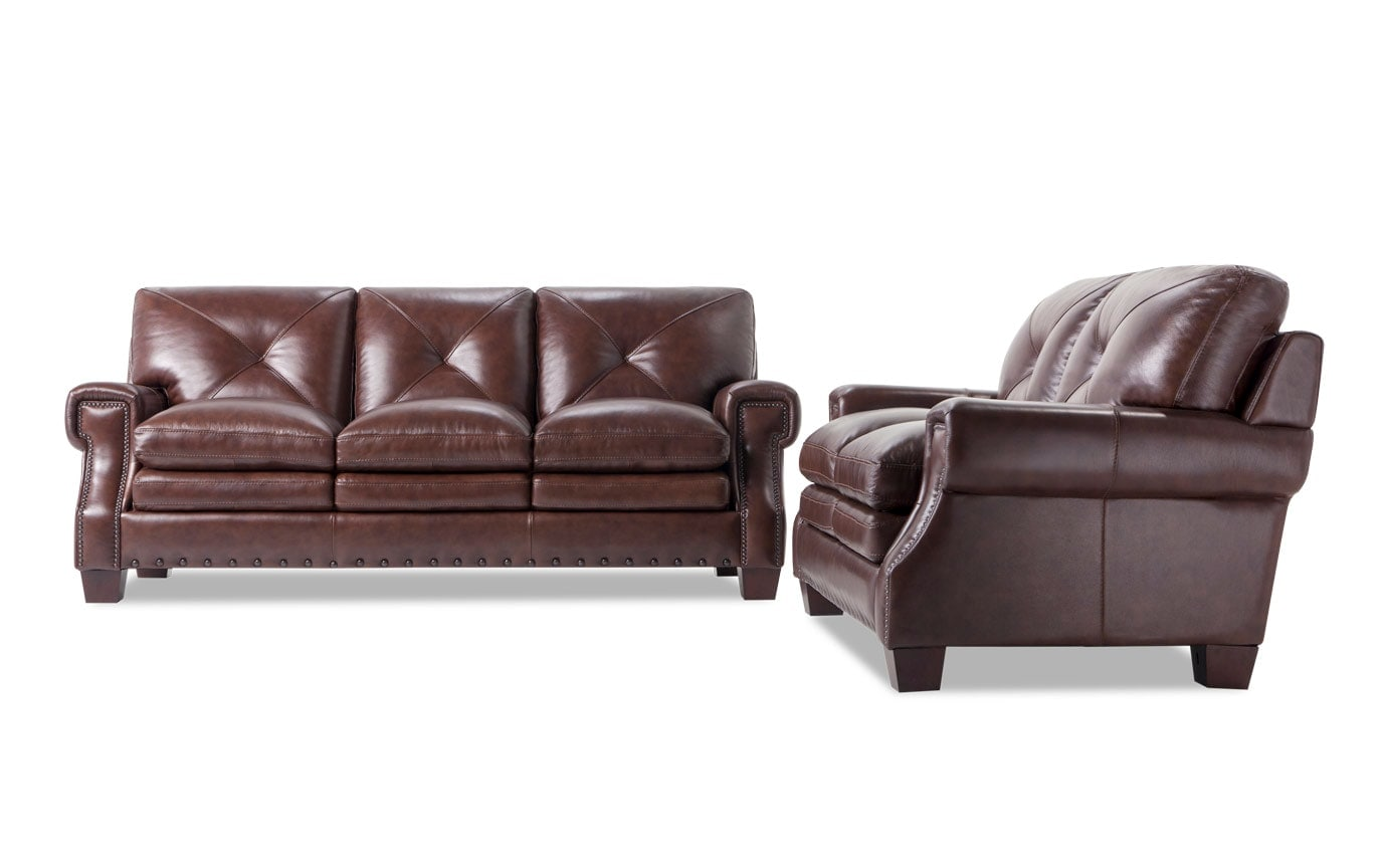 Kennedy Brown Leather Sofa Loveseat