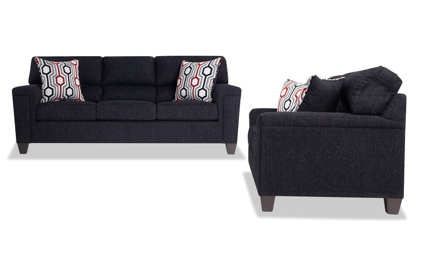 Calvin Onyx Black Sofa Set
