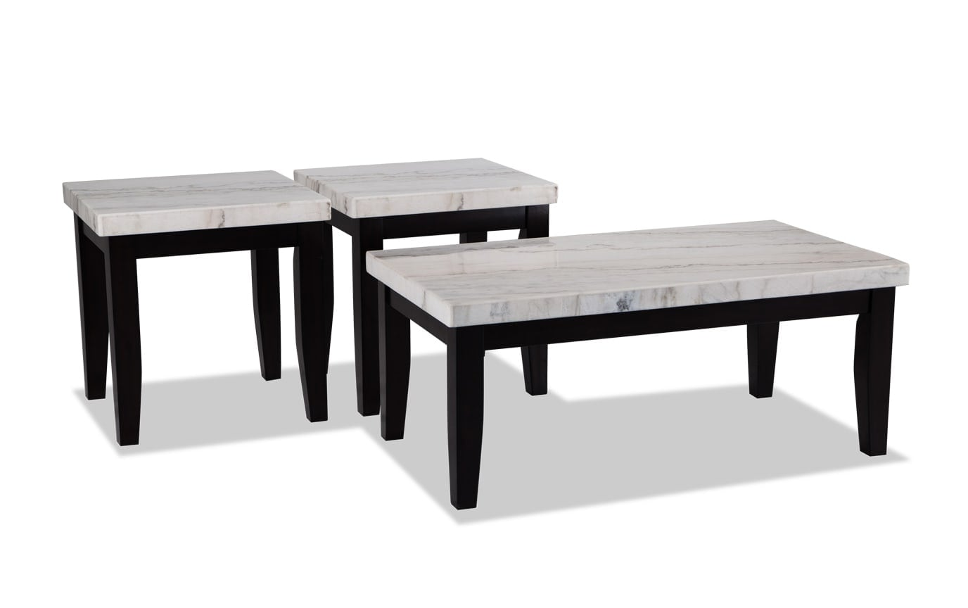 Montibello White Marble Coffee Table Set