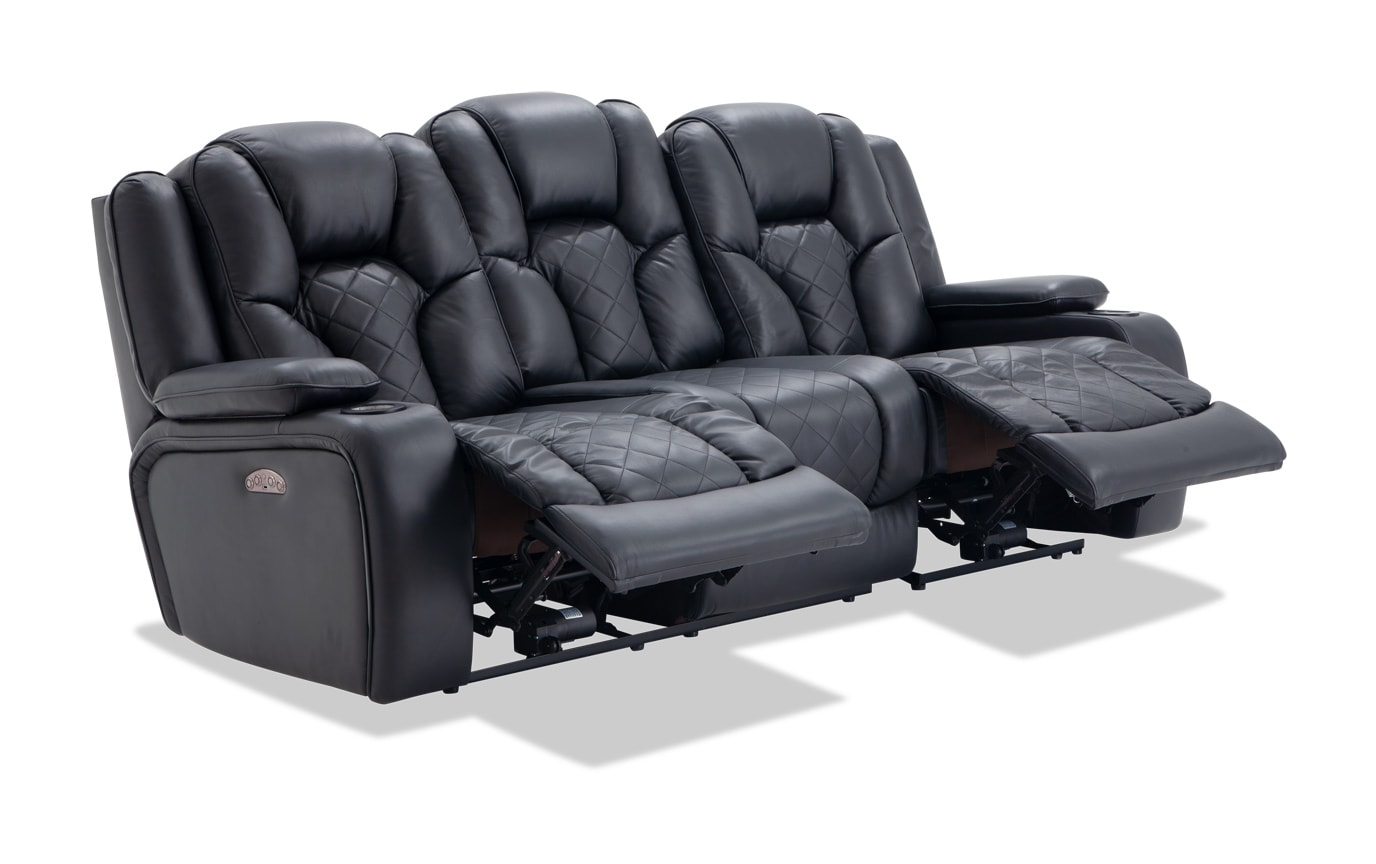 Admirable Panther Leather Dual Power Reclining Sofa Short Links Chair Design For Home Short Linksinfo
