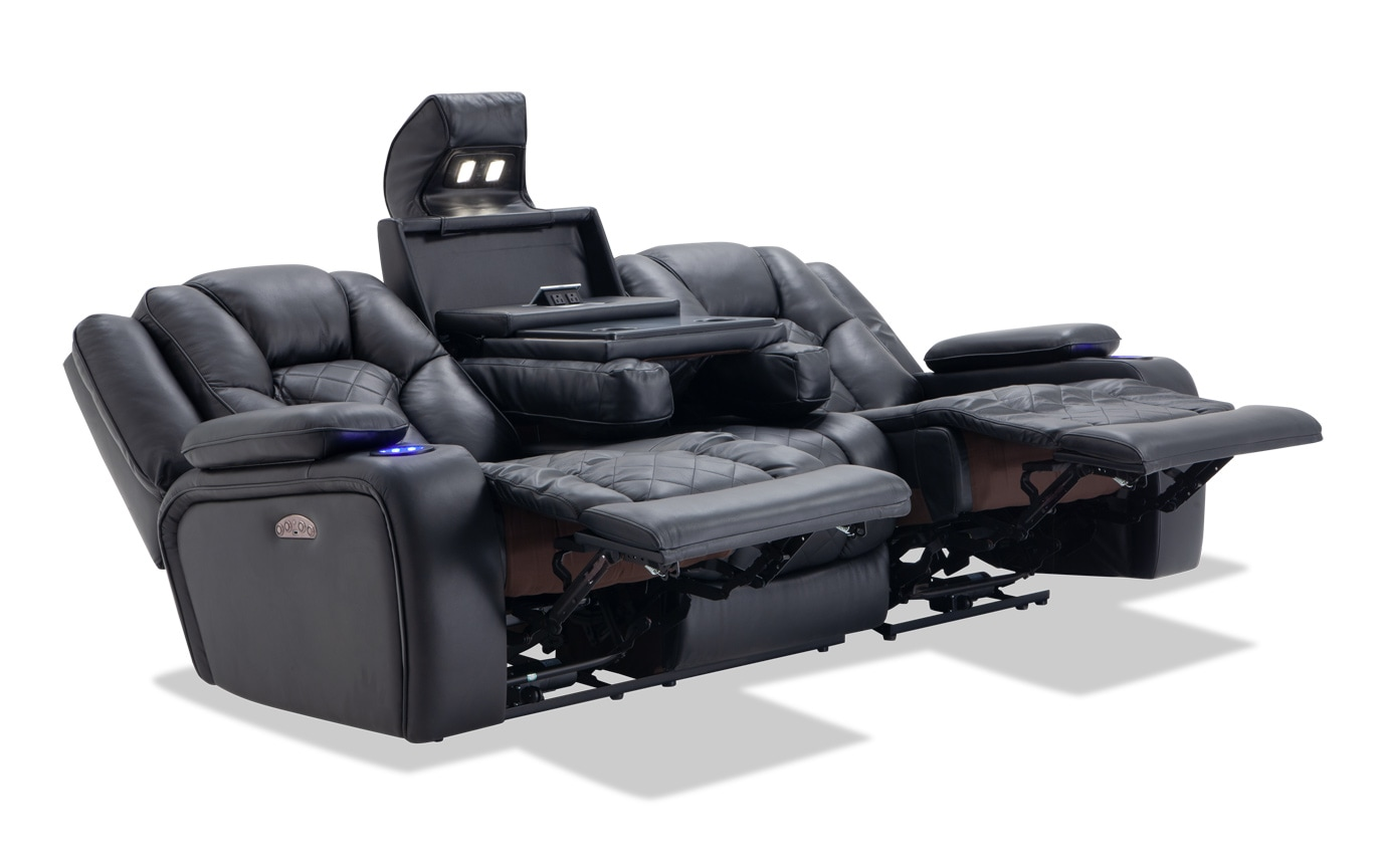 Terrific Panther Leather Dual Power Reclining Sofa Bralicious Painted Fabric Chair Ideas Braliciousco