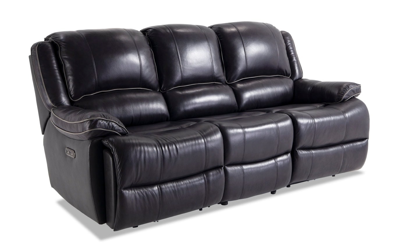 Phoenix Black Leather Power Reclining Sofa