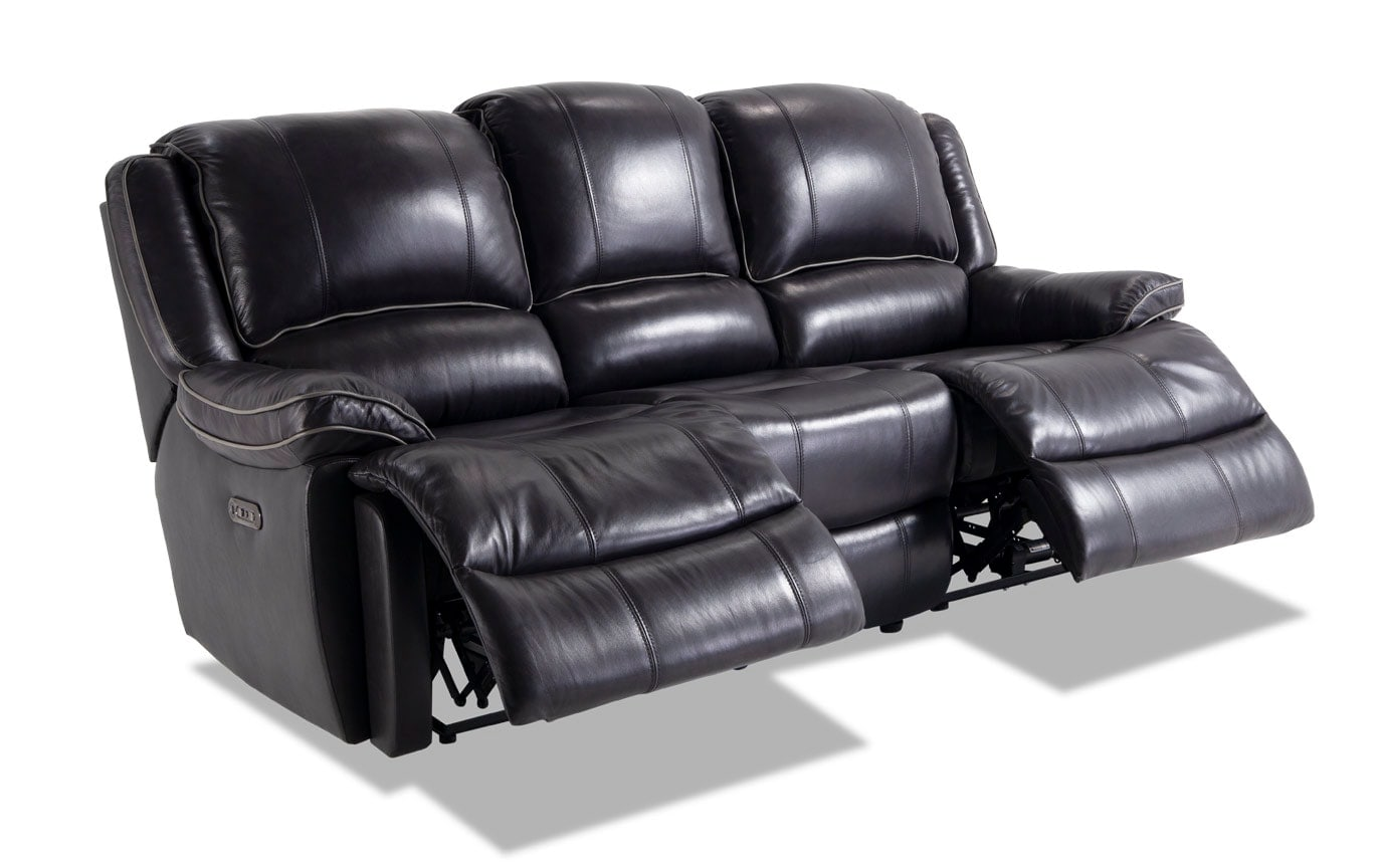 Phoenix Black Leather Power Reclining Sofa & Console Loveseat