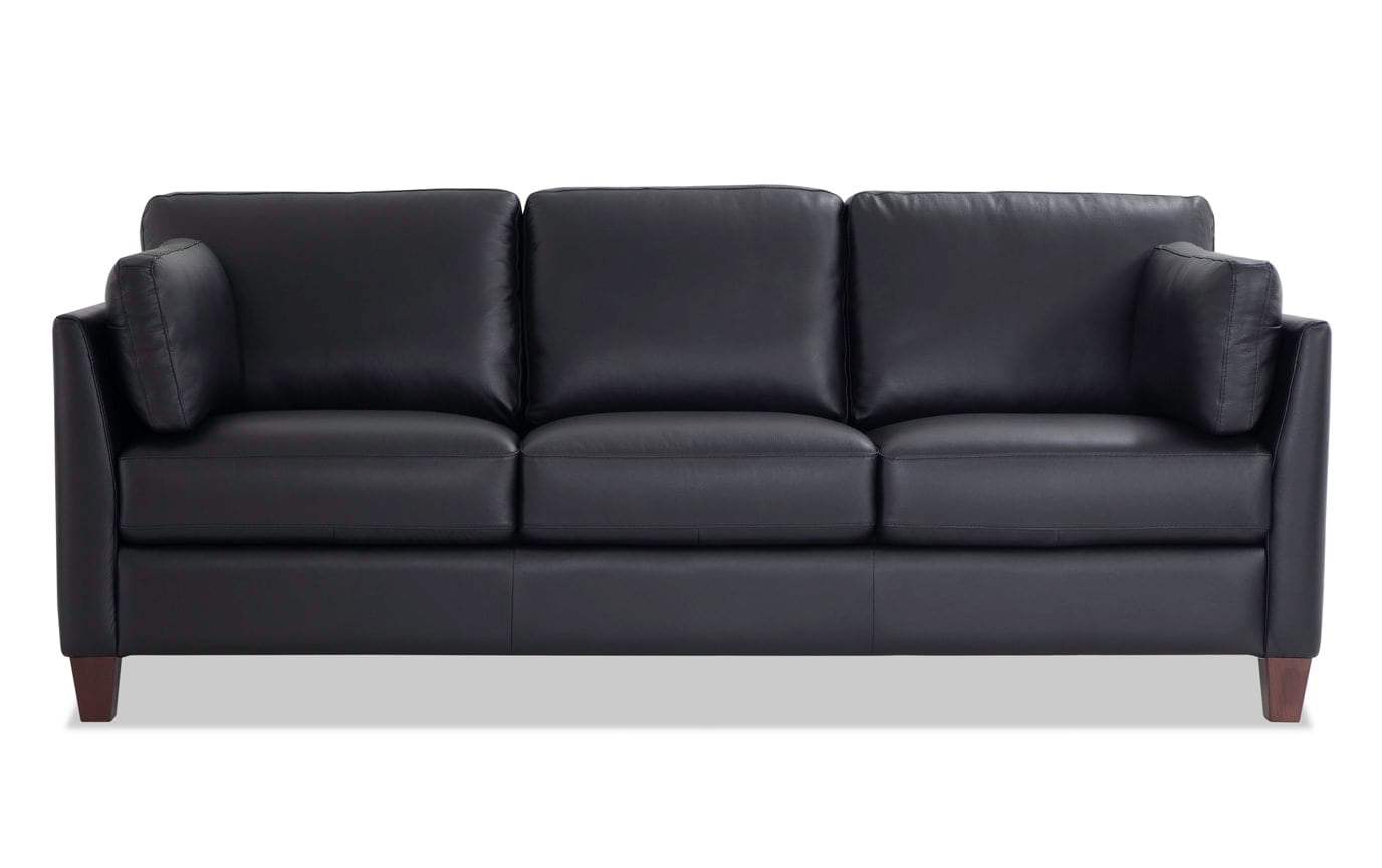 Antonio Black Leather Sofa Set