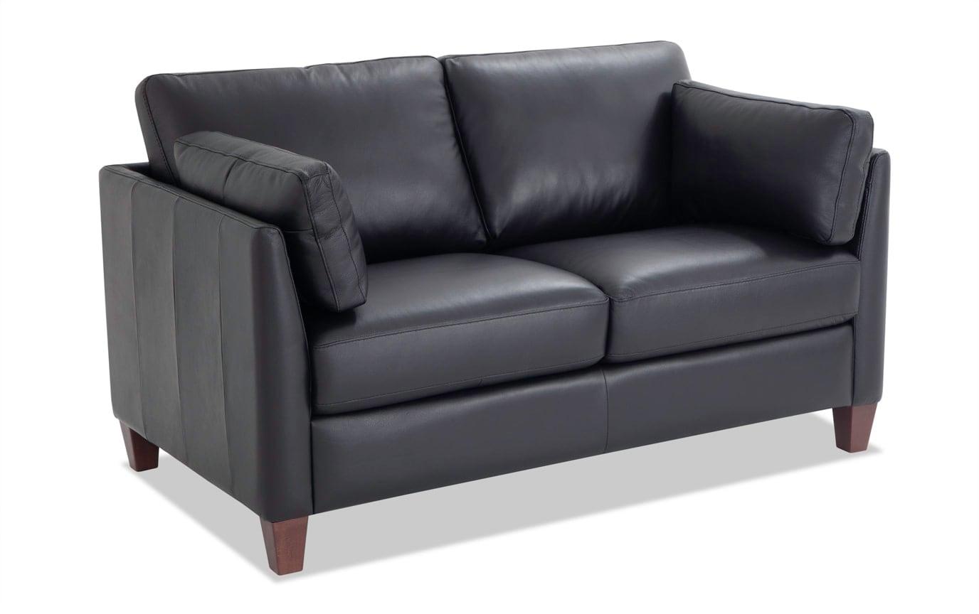 Antonio Black Leather Bob-O-Pedic Queen Sleeper Sofa & Loveseat